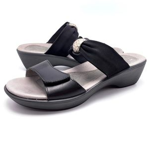 NAOT Pinotage 41 10 Leather Stretch Wedge Slides